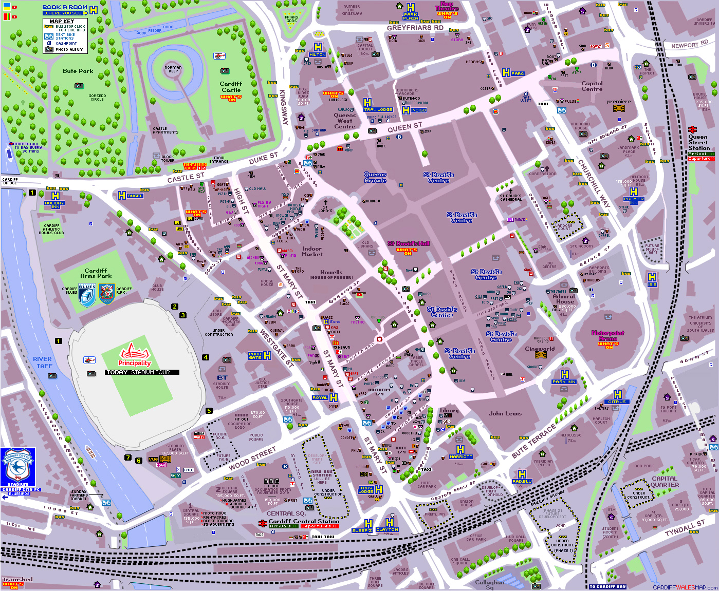 CARDIFF MAP City Centre on